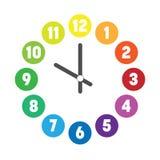 Красочный циферблат Шкала часа с номерами в покрашенных кругах o бесплатная иллюстрация