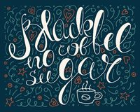 Красочный черный кофе отсутствие плаката оформления сахара плакат яркой руки нарисованный и написанный вектора кофе иллюстрация вектора