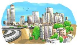 Красочный чертеж горизонта города Стоковые Изображения RF