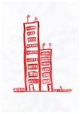 Красочный чертеж: дом с красной крышей Стоковые Изображения RF