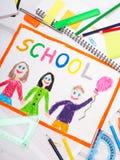Красочный чертеж с словом & x22; school& x22; Стоковые Изображения RF