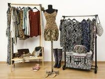 Красочный шкаф с одеждами и аксессуарами картины джунглей. стоковое изображение rf