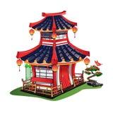 Красочный японский дом изолированный на белой предпосылке Стоковое Фото