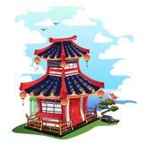 Красочный японский дом изолированный на белой предпосылке Стоковые Фото