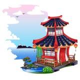 Красочный японский дом изолированный на белой предпосылке Стоковые Изображения RF