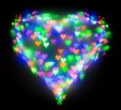 Красочный яркий блеск сформировал сердце, bokeh в форме сердца Стоковое фото RF