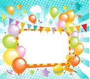 Красочный ярлык воздушных шаров Стоковое Изображение RF