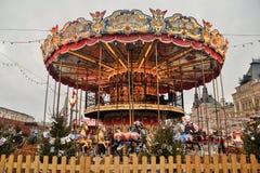 Красочный carousel на красной площади Стоковое Изображение RF