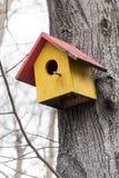 Красочный handcrafted деревянный дом птиц Стоковые Изображения RF