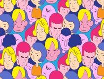 Красочный handdrawn стиль иллюстрации вектора толпы Стоковые Фото