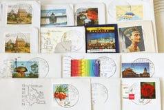 Красочным проштемпелеванные немцем штемпеля почтового сбора стоковое изображение