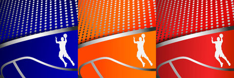 3 красочных абстрактных предпосылки баскетбола иллюстрация вектора