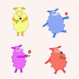 4 красочных изолированных овцы с цветками Стоковые Фото