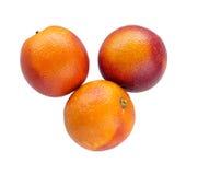 3 красочных красных сицилийских апельсина изолированного на белизне Стоковая Фотография RF