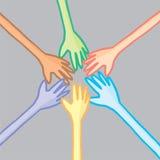 6 красочных рук в сотрудничестве иллюстрация вектора