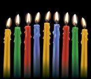 9 красочных свечей Стоковая Фотография RF