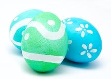 3 красочных handmade изолированного пасхального яйца Стоковое Изображение