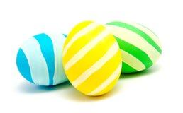 3 красочных handmade изолированного пасхального яйца Стоковое фото RF