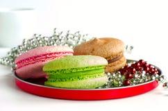 3 красочных macaroons на круглой плите Стоковая Фотография