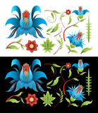 Крася комплект цветков и листьев элементов Стоковые Фотографии RF