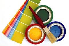 Крася материалы и поставки стоковая фотография rf
