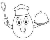 Крася милое яичко шеф-повара с подносом & ложкой стоковая фотография