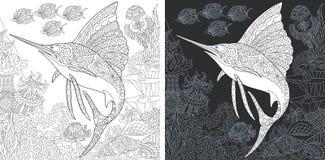 Крася страницы с Sailfish иллюстрация вектора