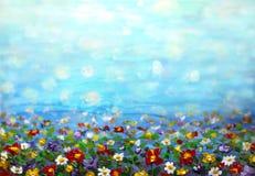 крася фиолетовый цветок космоса, белая маргаритка, cornflower, wildflower Цветет луг, зеленые картины поля Покрашенная рука флори стоковое изображение rf