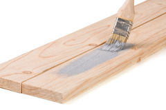 Крася цвет кисти деревянной доски серый изолированный на белой предпосылке Стоковая Фотография RF