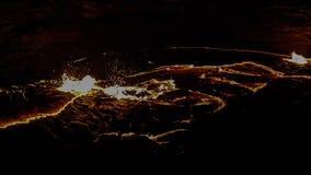 Кратер вулкана эля Erta панорамы, плавя лава, депрессия Danakil, Эфиопия Стоковое фото RF