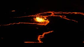 Кратер вулкана эля Erta, плавя выплеск лавы, депрессия Эфиопия Danakil Стоковые Изображения RF