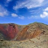 Кратер вулкана Lanzarote Timanfaya в Canaries Стоковое фото RF