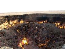 Кратер газа Darvaza, Туркменистан стоковая фотография rf