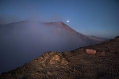 Кратер на восходе солнца, вулкан Telica, Никарагуа Стоковое Изображение RF