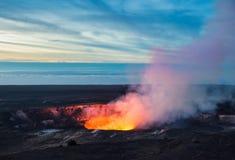 Кратер Kilauea, национальный парк вулканов Гаваи, большой остров, Гаваи Стоковое фото RF