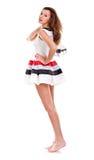 краткость девушки платья сексуальная катается на коньках зима Стоковые Фотографии RF