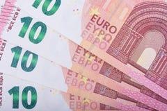краткость дег поля евро глубины предпосылки евро 10 кредиток Европейский союз валюты Стоковое Изображение