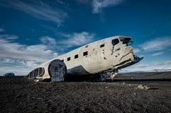 Крах Solheimasandur Исландия самолета на пляже отработанной формовочной смеси стоковое изображение