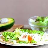 Краденное яичко, куски авокадоа, смешивание салата, соус, специи в tortilla муки Авокадо половинный, салат смешивания в стеклянно Стоковое фото RF