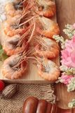 Креветка или креветка испеченные с солью очень вкусный Стоковая Фотография RF