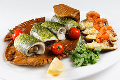 Креветка и рис рыб стоковые изображения