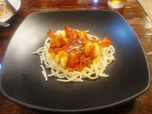 Креветка соуса спагетти Стоковая Фотография RF