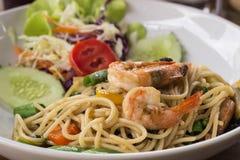 Креветка специи spagheti в меньше света Стоковые Фото