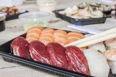 Креветка тунца и сасими семг Стоковые Фотографии RF