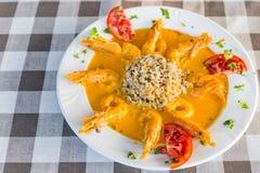 Креветки с едой ризотто и соуса изысканной Стоковое фото RF