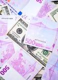 Кредитки доллара и евро Стоковые Фото