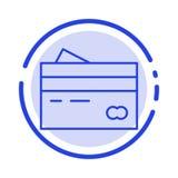 Кредитная карточка, банк, карта, карты, кредит, финансы, деньги, линия значок голубой пунктирной линии покупок иллюстрация вектора