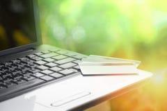 Кредитная карточка и использование кредита и дебетовой карты концепции легкой оплаты ноутбука онлайн ходя по магазинам для ходя п стоковые изображения rf