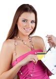 кредит карточки вне упаковывает вытягиванную женщину Стоковое фото RF