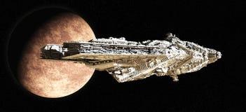 крейсер сражения покидая орбита Стоковые Изображения